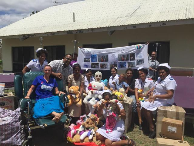 Donated items being presented to Nadi Hospital on behalf of Ashley, Jayne and Maddison Wren.
